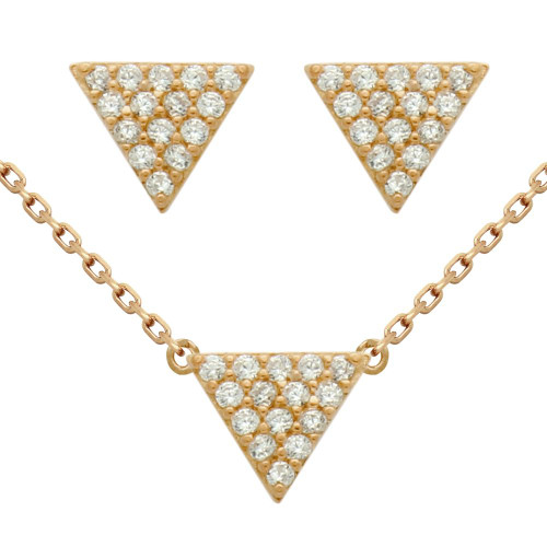 """ROSE GOLD PLATED SET: 5MM TRIANGLE CZ PAVE EARRINGS AND 16+2"""" NECKLACE"""