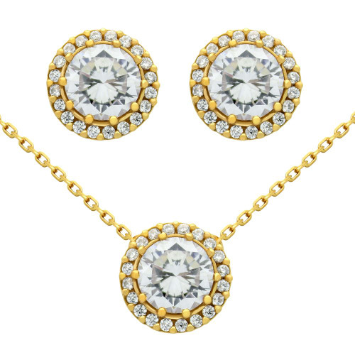 "GOLD PLATED SET: 7.5MM ROUND CZ EARRINGS AND 16+2"" NECKLACE"