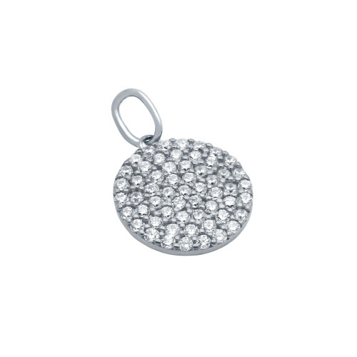 RHODIUM PLATED 12MM CZ PAVE DISK PENDANT