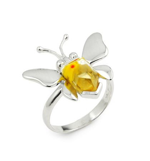 MURANO MILLEFIORI YELLOW FACETED BUTTERFLY RING
