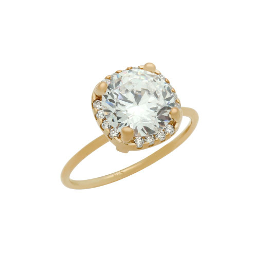 ROSE GOLD PLATED CLEAR 9MM ROUND CZ RING WITH SQUARE DESIGN SURROUNDING CLEAR CZ STONES