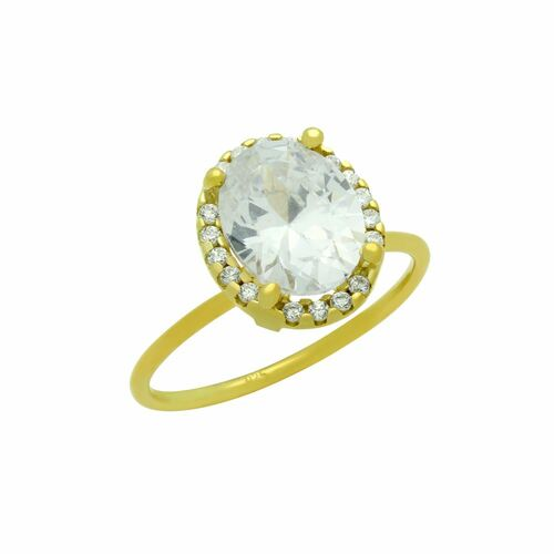 GOLD PLATED CLEAR OVAL CZ RING WITH SURROUNDING CLEAR CZ STONES
