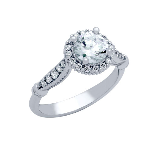 RHODIUM PLATED ROUND CZ HIGH SETTING STYLE HALO ENGAGEMENT RING