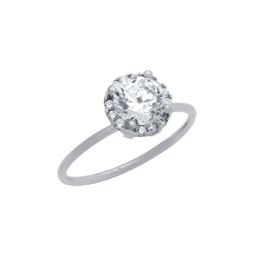RHODIUM PLATED 6.5MM CLEAR ROUND CZ RING WITH SURROUNDING CLEAR CZ STONES