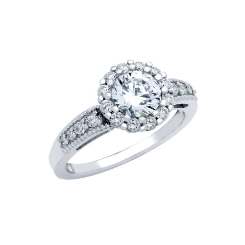RHODIUM PLATED FLORAL DESIGN CZ ENGAGEMENT RING