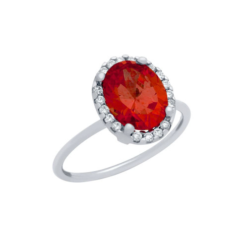 RHODIUM PLATED RED OVAL CZ RING WITH SURROUNDING CLEAR CZ STONES