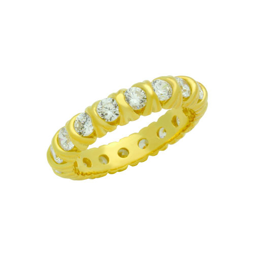 GOLD PLATED XO ETERNITY STYLE CZ BAND RING