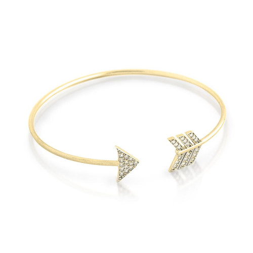 GOLD PLATED CZ ARROW DESIGN BANGLE