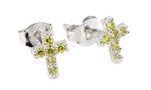 PAVE CZ YELLOW CROSS POST EARRINGS