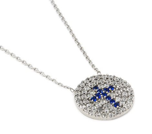 "PAVE CLEAR AND BLUE CZ ROUND CROSS NECKLACE 16""+1"" ADJUSTABLE"