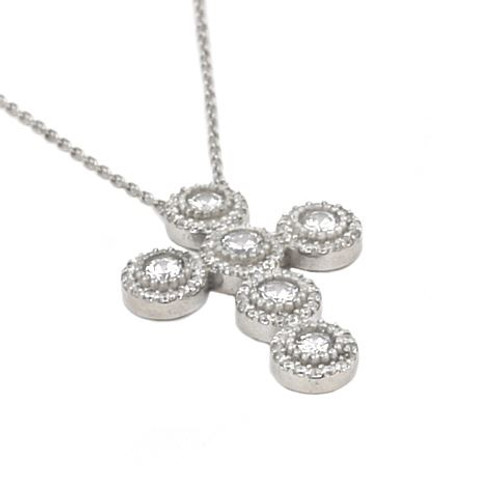 """RHODIUM PLATED CZ ROUNDED CROSS NECKLACE 16""""+1"""" ADJUSTABLE"""