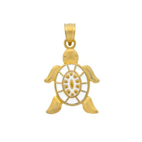 GOLD PLATED ENAMELED WHITE TURTLE CHARM