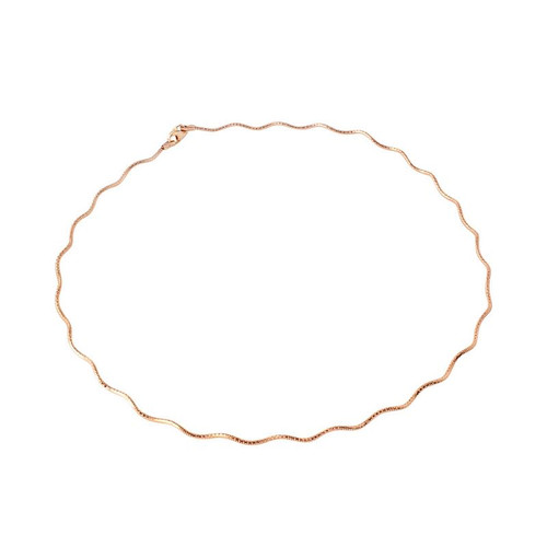 ROSE GOLD PLATED STERLING SILVER ZIGZAG 130 CHAIN (1.4MM)
