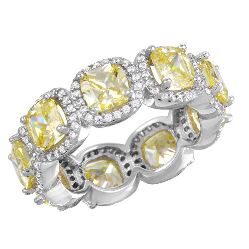 RHODIUM PLATED LIGHT YELLOW CZ ETERNITY BAND