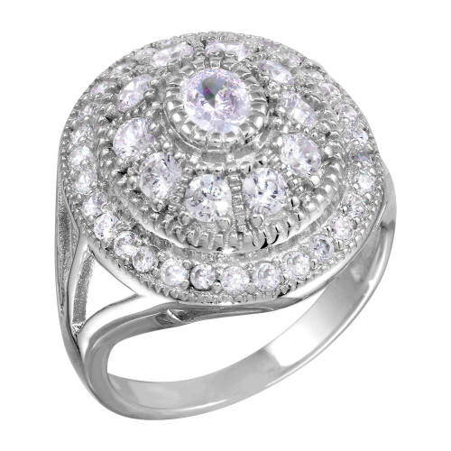 RHODIUM PLATED OVAL CZ WATERFALL HALO RING