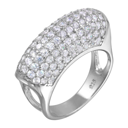 RHODIUM PLATED CZ PAVE DOME COCKTAIL RING