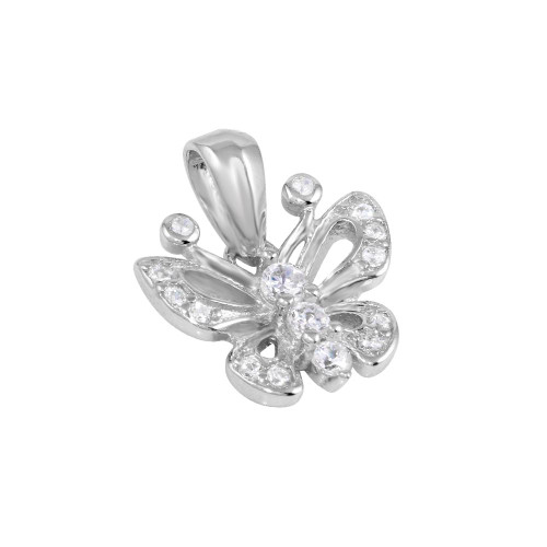 RHODIUM PLATED 13MM CZ BUTTERFLY PENDANT