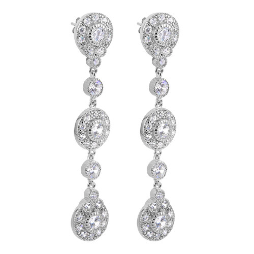 RHODIUM PLATED CZ HALO DANGLE EARRINGS