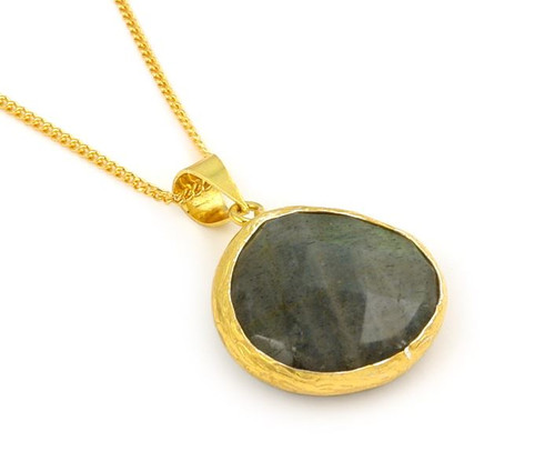 """GOLD PLATED STERLING SILVER AND LABRADORITE 16""""+2"""" ADJUSTABLE"""