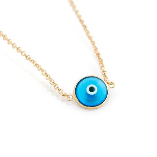 "GOLD PLATED SINGLE BLUE 10MM EYE NECKLACE 16"" + 2"""