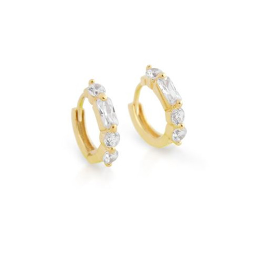 GOLD PLATED 14MM ROUND HUGGIE CZ EARRINGS
