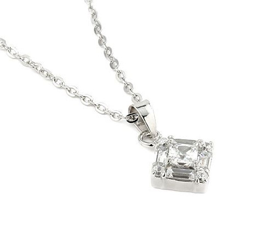"PRINCESS AND BAGUETTE CUT CLEAR CZ PENDANT WITH 18"" CHAIN"