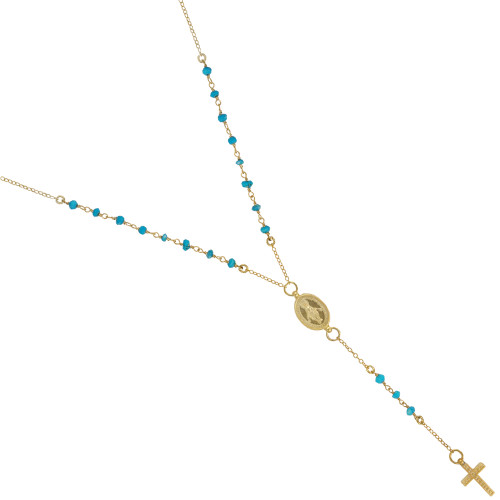"GOLD PLATED TURQUOISE ROSARY NECKLACE 18"" + 2"""