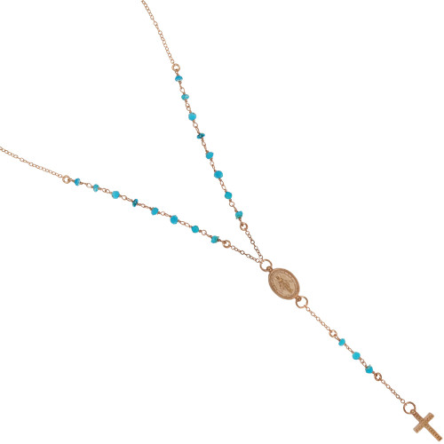 "ROSE GOLD PLATED TURQUOISE ROSARY NECKLACE 18"" + 2"""