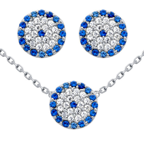 """RHODIUM PLATED SET: 9MM DISK BLUE EYE CZ PAVE EARRINGS AND 16+2"""" NECKLACE"""
