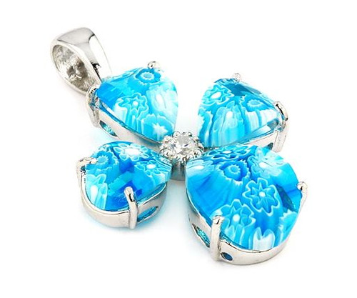 LIGHT BLUE FACETED MURANO MILLEFIORI CROSS PENDANT WITH CZ