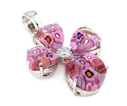 PINK FACETED MURANO MILLEFIORI CROSS PENDANT WITH CZ