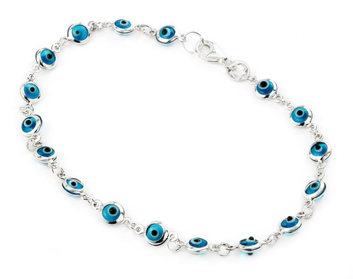 "4MM BLUE GLASS EYE BRACELET 7"""