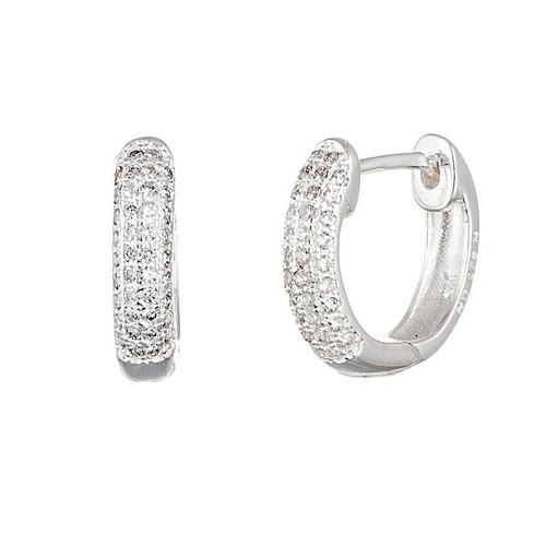 RHODIUM PLATED 13MM HUGGIE EARRINGS WITH 3-ROW CZ PAVE