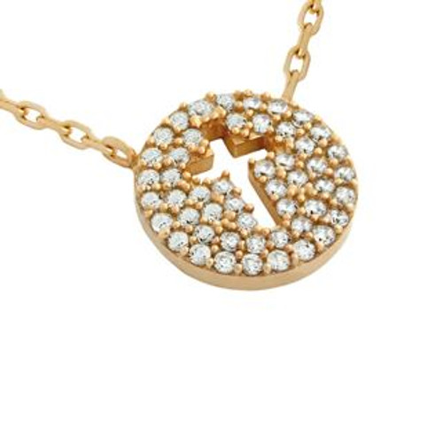 "ROSE GOLD PLATED CZ PAVE DISK NECKLACE WITH CUTOUT CROSS 16"" + 2"""