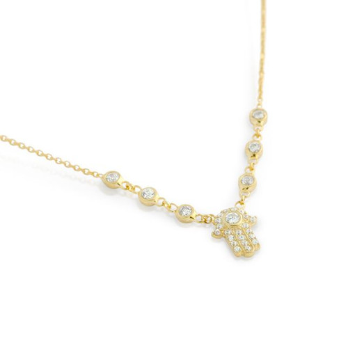 """GOLD PLATED CZ HAMSA NECKLACE IN 16"""" + 2"""""""