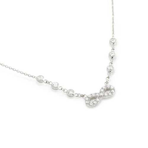 "RHODIUM PLATED CZ INFINITY NECKLACE IN 16"" + 2"""