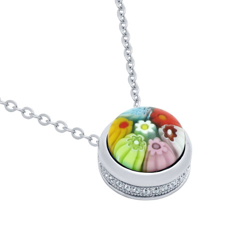 "MULTICOLOR MURANO MILLEFIORI ROUND CABOCHON NECKLACE 16"" + 2"" WITH CZ PAVE"