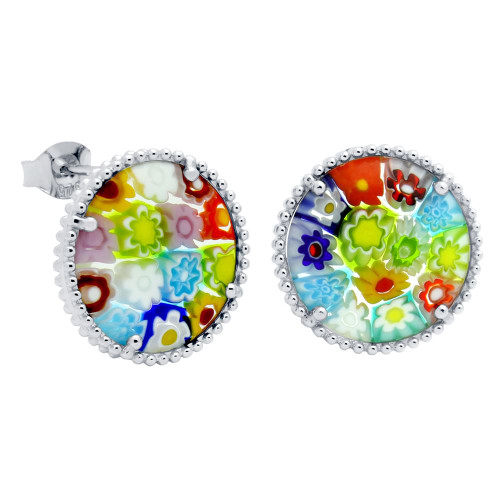 MULTICOLOR MURANO MILLEFIORI 16MM ROUND POST EARRINGS