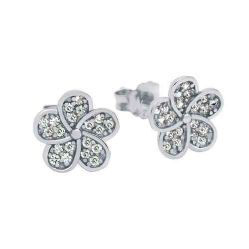 RHODIUM PLATED CZ FLOWER EARRINGS