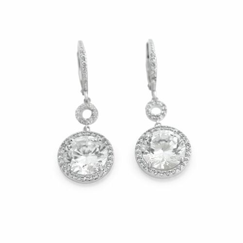 DANGLING LARGE ROUND CZ EARRINGS