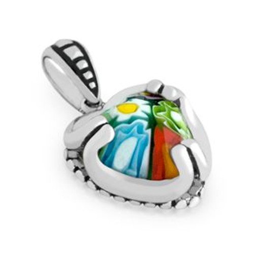 MULTICOLOR MURANO MILLEFIORI 16x14MM HEART PENDANT WITH BEADED DESIGN