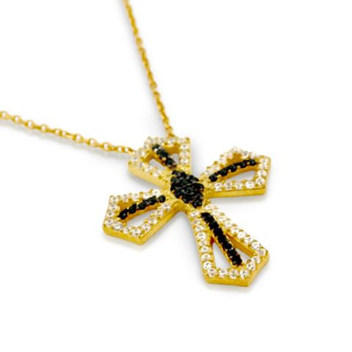 """GOLD PLATED BLACK AND WHITE CZ CROSS NECKLACE 16"""" + 2"""""""