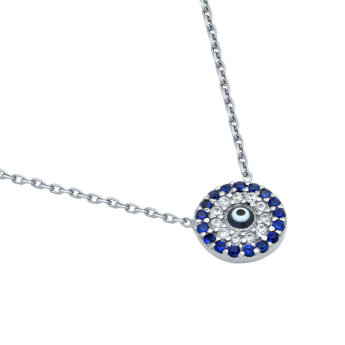 "RHODIUM PLATED DARK BLUE EYE NECKLACE WITH CLEAR AND BLUE CZ 16""+1"""