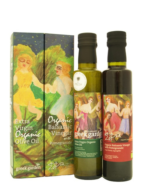 Greek Garden Olive Oil & Pomegranate Vinegar Set