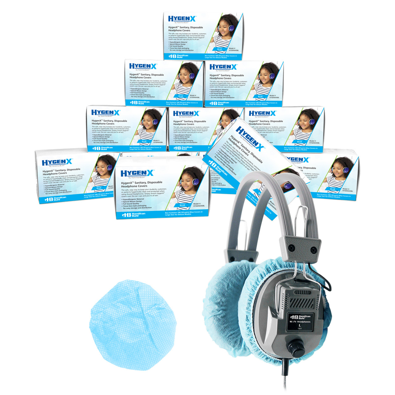 2.5 White, 50 Pairs Hamilton Buhl HygenX Sanitary Ear Cushion Covers for On-Ear Headphones /& Headsets