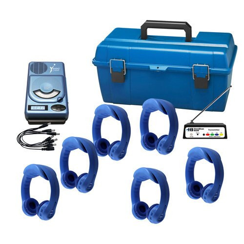 6-Person Wireless Listening Center with AudioChamp™ CD/MP3/USB Media Player and Dual-Channel Flex-PhonesAF™ BLUE