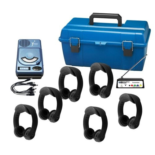 6 Person Wireless Listening Center with Black Flex-PhonesAF and AudioChamp CD, USB, MP3 Player
