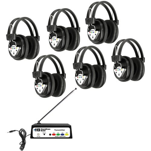 HamiltonBuhl Wireless Listening Center, 6 Station with Headphones and Bluetooth® Transmitter, Multi Frequency