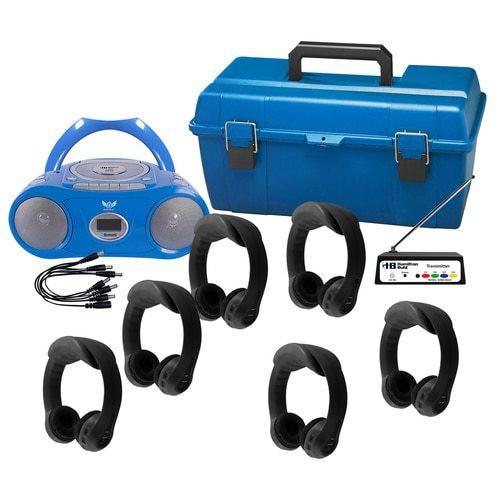 HamiltonBuhl 6-Person Black Wireless Black Flex-PhonesAF Wireless Listening Center with AudioAce Boombox