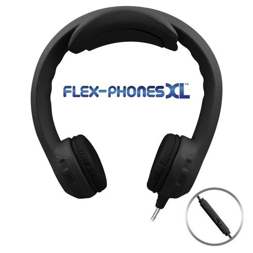 Flex-PhonesXL (Black) - Indestructible, Single-Construction Headset For Teens